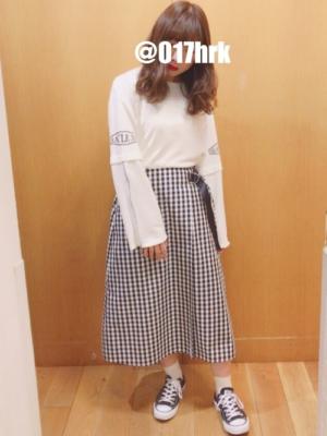 ギンガムチェック スカート ミモレ丈 コーデ